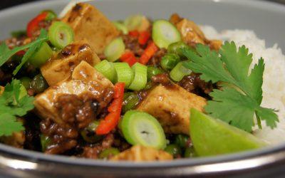 Gehakt met tofu in zwartebonensaus