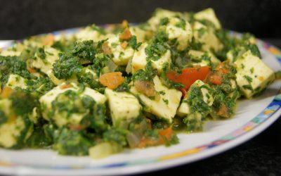 Palak paneer (spinazie met Indiase kaas)