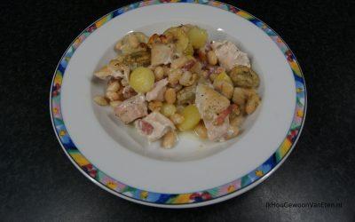 Kip met spek en banaan
