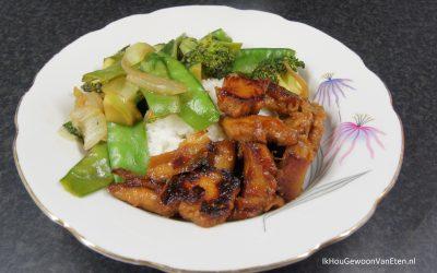 Vegetarische kip teriyaki met geroerbakte groene groenten