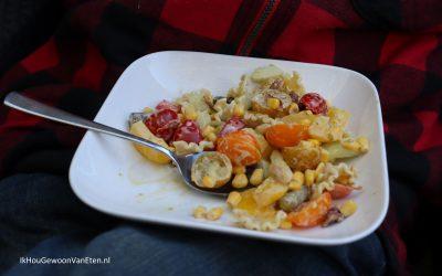 Salade met mayo-pesto dressing