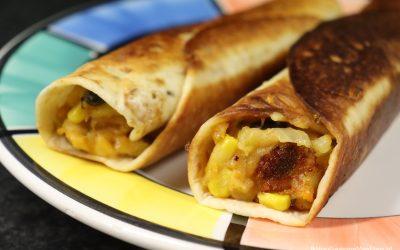 Taquito's met zoete aardappel, zwarte bonen en mais